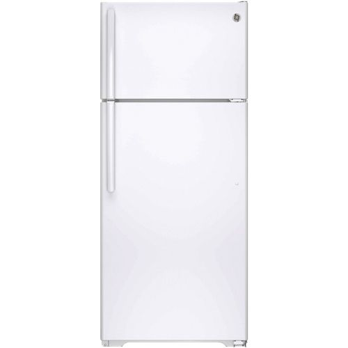 """Enjoy the classic design and reliable function of the GE 28"""" 17.5 cu. ft. GE top mount refrigerator. With 2 adjustable shelves, clear crisper drawers and dairy door, keeping fresh food organized and displayed is easy. A spillproof... Free shipping on orders over $35."""