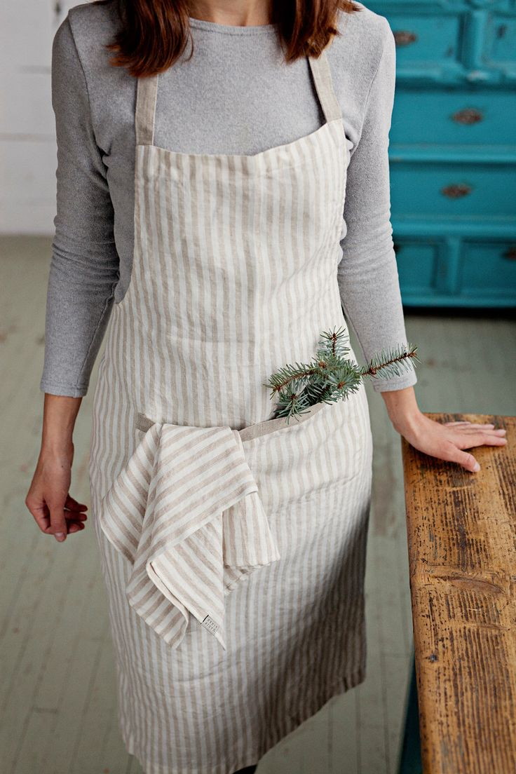 Linen woman apron. Stone washed linen apron. Striped natural and off white. Linen full apron. Long apron. Natural apron. Traditional apron by MagicLinen on Etsy https://www.etsy.com/listing/265227269/linen-woman-apron-stone-washed-linen