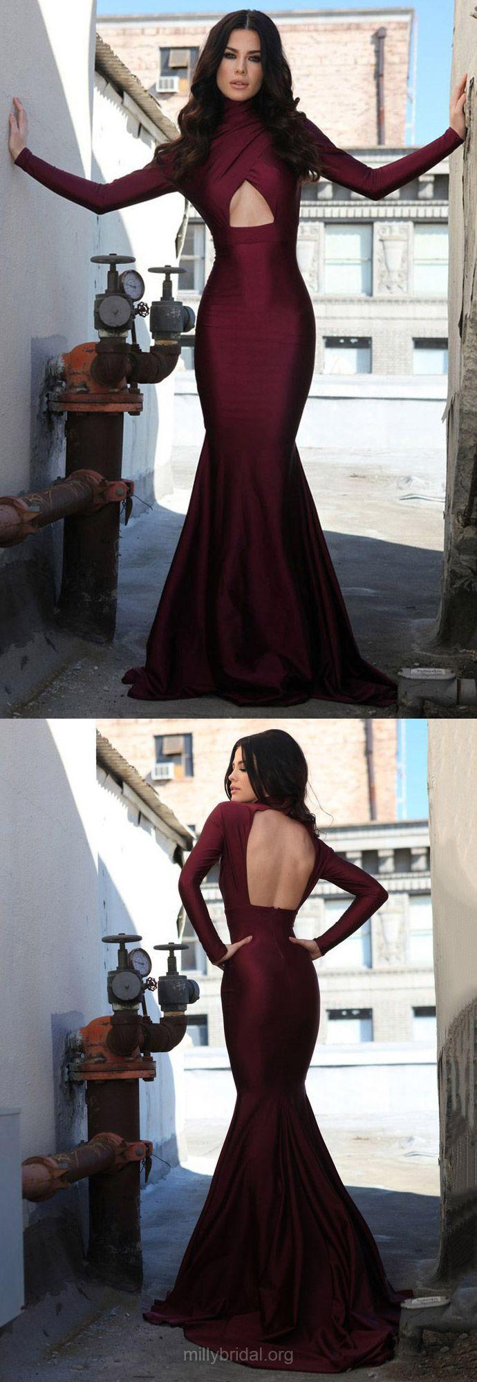 Burgundy Prom Dresses Long, 2018 Prom Dresses For Teens, Trumpet/Mermaid Formal Evening Dresses High Neck, Long Sleeve Pageant Dresses Open Back, Silk-like Satin Party Dresses Ruffles Modest