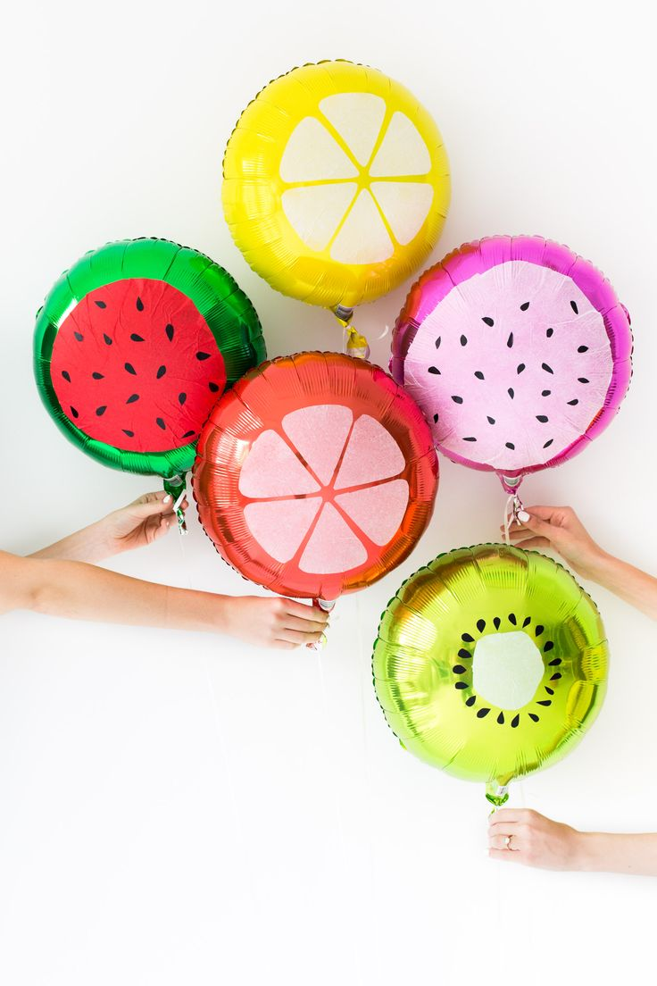 DIY Fruit Slice Balloons. I want to have a summer themed indoor BBQ for Coco's birthday I think. January 6th!