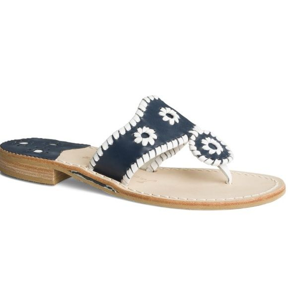 """JACK ROGERS Palm Beach Sandal - Navy/White """"Jackie Kennedy herself wore this iconic original that started it all. That it is still a core shoe is a testament to the longevity of truly great design. Features a rich leather upper with signature whipstitching and rondelles."""" Jack Rogers Shoes Sandals"""