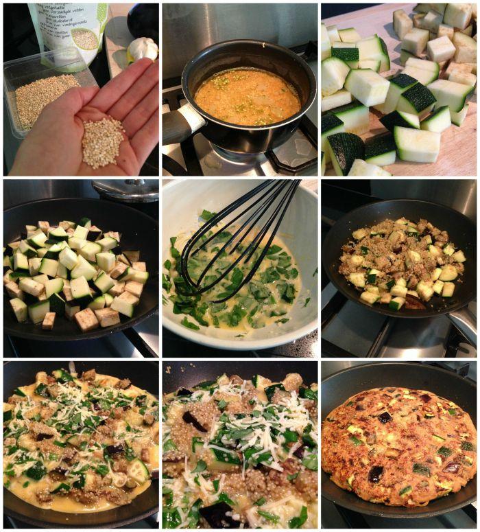 Deze frittata is ontzettend lekker en gezond. Je maakt het o.a. met courgette, aubergine, quinoa en ei. Gegarandeerd succes!