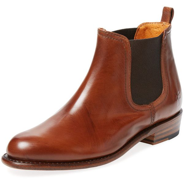 Frye Women's Dorado Leather Chelsea Boot - Brown - Size 6.5 ($250) ❤ liked on Polyvore featuring shoes, boots, ankle booties, brown, leather platform booties, brown leather boots, platform booties, brown chelsea boots and brown leather ankle booties
