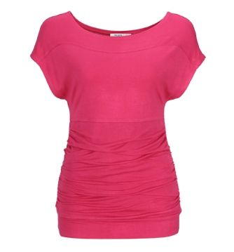 Ruched Extended Shoulder Top in Pink . Sizes XS to XXL . Available in store and online at www.rickis.com #rickis #spring2014