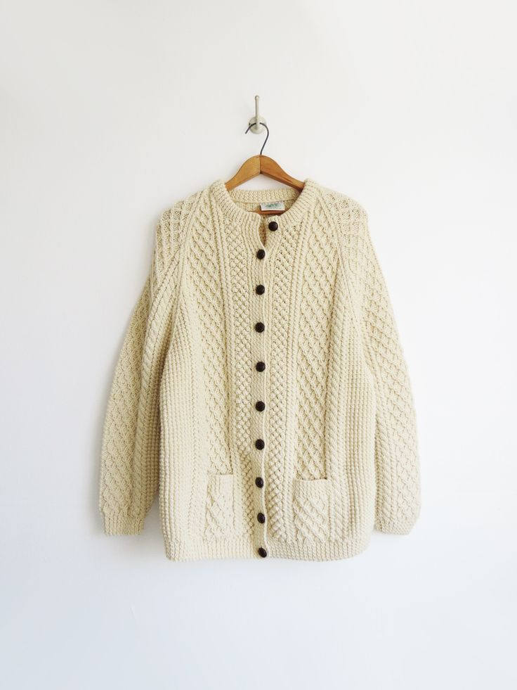 Aran Irish Sweater // Vintage 1980's Wool Cardigan SOLD