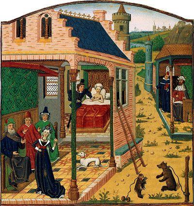 De afgewezen huwelijkskandidaat Tarquinius bedreigt Lucretia met een wapen en verkracht haar, waarop de onteerde Lucretia zelfmoord pleegt voor het oog van haar man en familieleden. Het drama wordt verzacht door de grappige scène van het aapje dat met de kat speelt en de vastgeketende hond. Miniatuur in een Franse versie van Valerius Maximus, Facta et dicta memorabilia, gekopieerd in opdracht van Wolfart van Borselen, graaf van Grandpré, 1444-68.   Parijs, Bibliothèque de l'Arsenal, Ms…