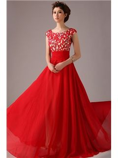 帝国プリンセススタイルAラインイブニングドレス キャップド 床長