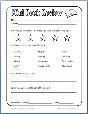 Mini Book Review-great activity for a sub to do in Music!!! Students can just grab a book from our classroom library.