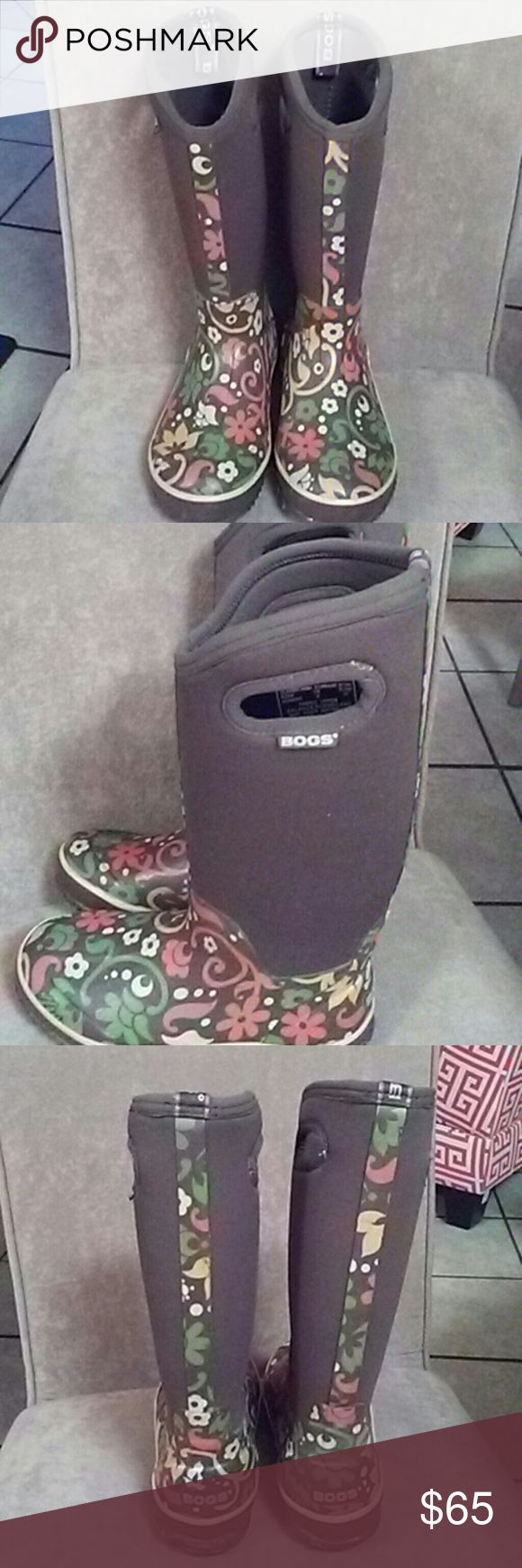 Bogs thermal  weather boots rain and snow Bogs thermal weather boots rain and snow.... Size 6 . like new brown with floral print. Bogs Shoes Winter & Rain Boots