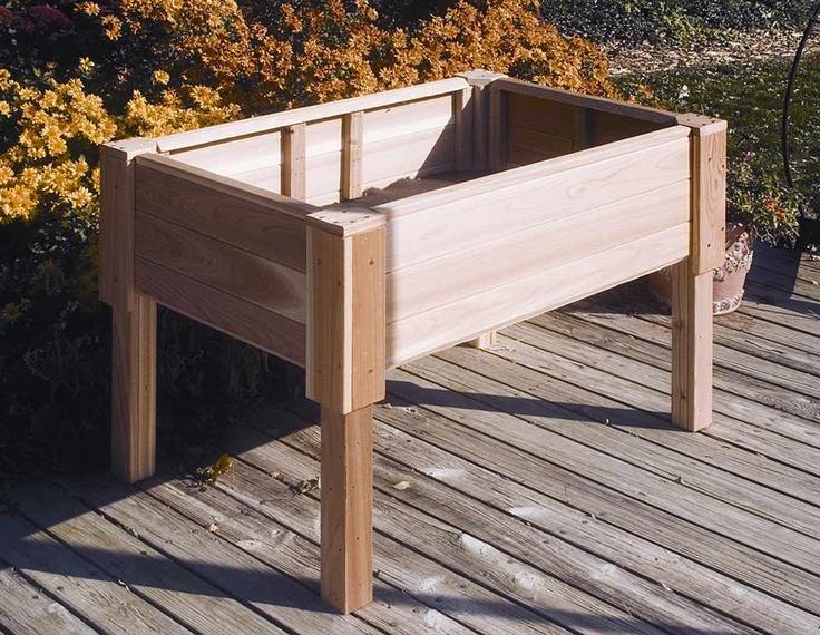 Rectangular Raised Cedar Garden Planter With Wooden Legs