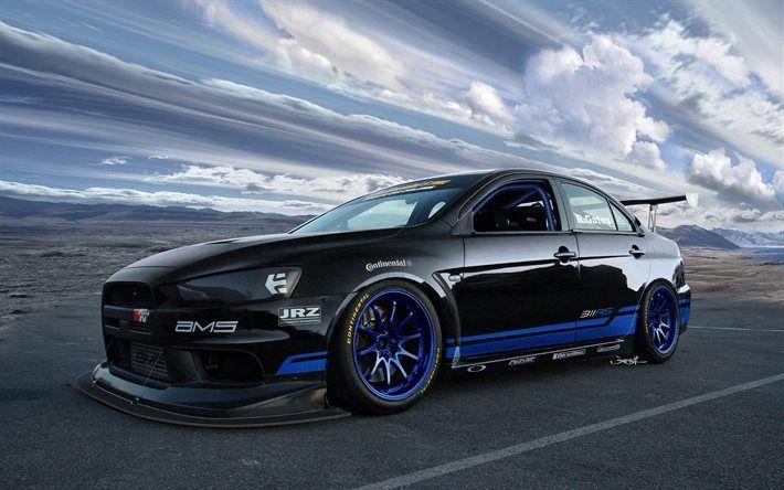 壁紙をダウンロードする スポーツカー, 三菱ランサーエボリューション, チューニング, x, 黒いランサーエボリューション