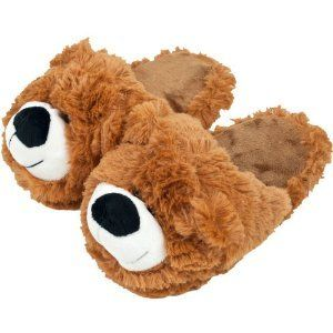 Body Trends Cuddlee Slippers – Teddy Bear – Size L – Ages 10-12
