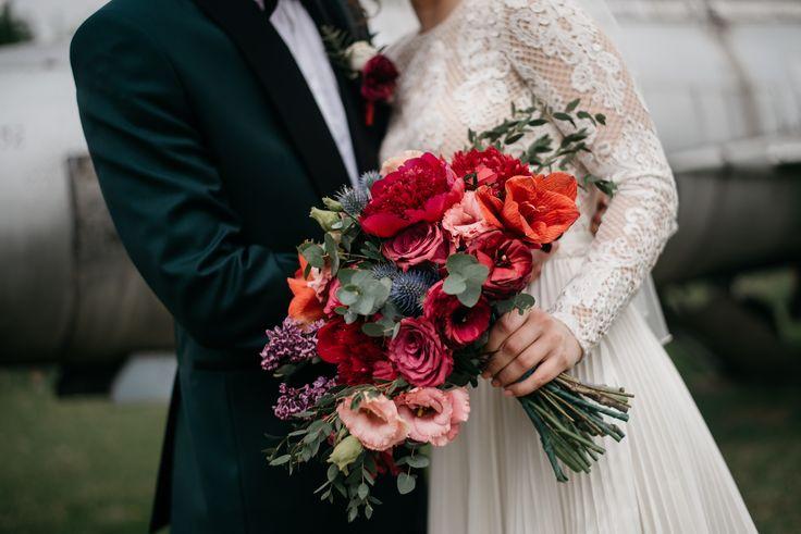 Marsala garden wedding bouquet