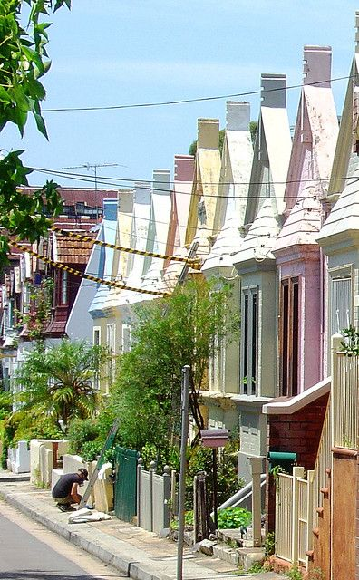 Colourful houses in Newtown, Sydney, Australia