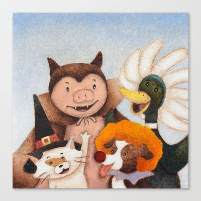 Halloween Animals! Stretched Canvas by Alexandria Gold - $85.00