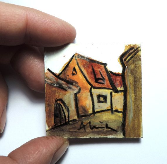 Tiny acrylic painting, The Guild House in Brasov, Transylvania, miniature art, small format contemporary painting, original from Romania