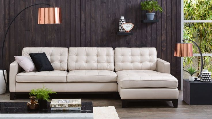 Gilbert 3 seater leather lounge with chaise lounges for Outdoor furniture harvey norman