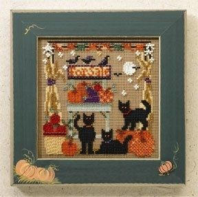 """MH146202 - Bountiful Kitties (2006) - Mill Hill - Buttons and Bead Kits - Autumn Series Kit Includes: Beads, ceramic buttons, perforated paper, needles, floss, chart and instructions. Mill Hill frame GBFRFA5 sold separately Size: 5"""" x 5"""""""
