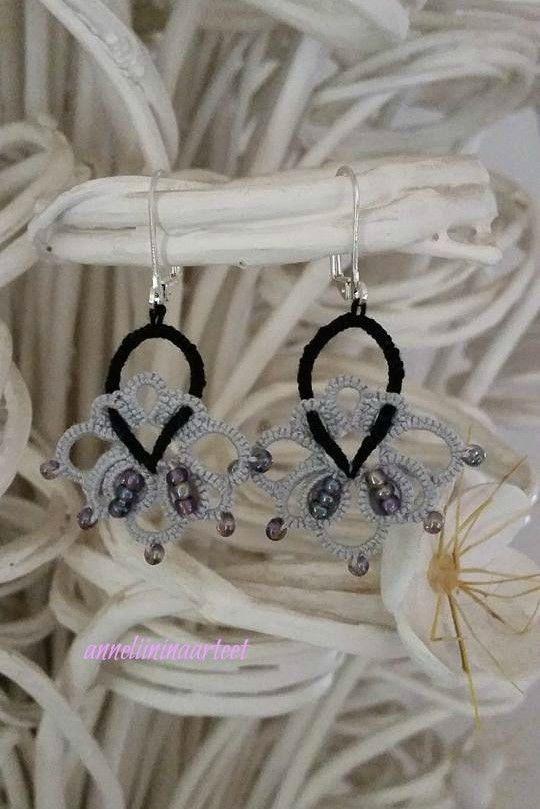 käpypitsi korvikset - frivolite tatting earrings