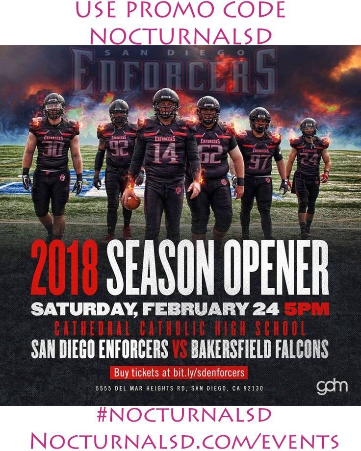 "San Diego Enforcers Vs DIscount Tickets Promo Code ""nocturnalsd""    San Diego Enforcers VS Tickets Discount Promo Code ""NOCTURNALSD"" Football  Sad that the chargers left ? who cares come watch the San Diego Enforcers Vs the apposing football rivals .     At various places around San Diego .   https://www.facebook.com/events/422533784865067/    USE PROMO CODE ""NOCTURNALSD""  Game 1   Salute to Service: San Diego Enforcers vs. US Marine Corps, March 17…"