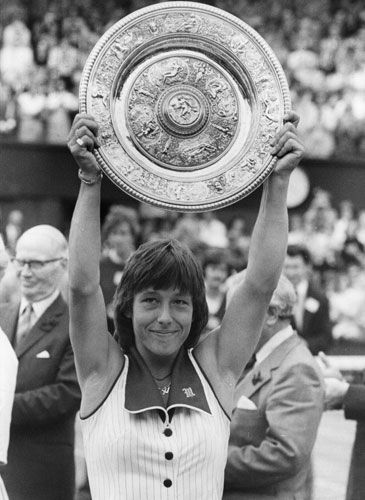 """1978- Her win at Wimbledon makes Martina Navratilova the number one ranked female tennis player in the world. The same year, she meets novelist Rita Mae Brown, & the two begin an intense, short-lived relationship. Their differing values may doom the relationship from the beginning. According to Navratilova, Brown makes it clear that, """"...it's only sports. She would say, 'Sports are just to keep your mind off everything else & they don't enhance the culture of the mind.'"""""""