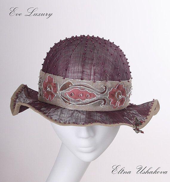 Аксессуары, шляпы & шапки, летние шляпы, вечерние шляпки, темно-фиолетовая шляпа, sinamay шлем, Аскот, Кентукки Дерби, Кубок Мельбурна, Королевский скачки