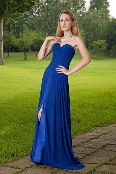 Weekly Special Product: Une Ligne-Aimée Robe Bleue Formelle rpc1680 - Order Link: http://www.robespaschers.com/une-ligne-aimee-robe-bleue-formelle-rpc1680.html - Couleur: Blue; Silhouette: Une Ligne-, Décolleté: Sweetheart; Embellissements: Ruché; Tissu: Mousseline De Soie - Price: 172