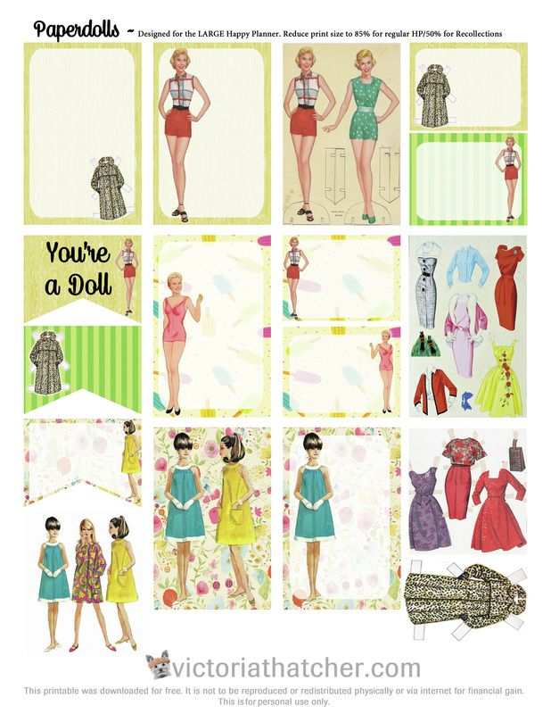 Free Printable Paper Dolls Planner Stickers from Victoria Thatcher