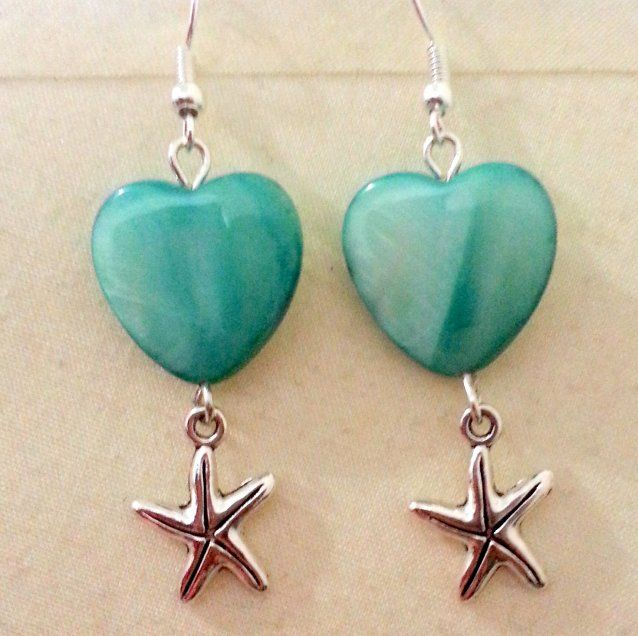 Coral & Starfish Earrings by Crafty China Heart shaped blue coral & small starfish earrings