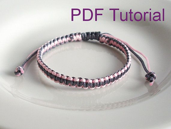 This listing is for a 9 page PDF pattern and tutorial, for a square knot macrame bracelet. The PDF tutorial comes with step-by-step instructions and photos to make a square knot bracelet with an adjustable slider closure either in a single colour, or in two colours. If you use 1mm