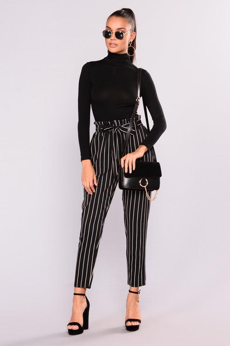 Marcela Pants Black White Outfit Ideen Arbeit Outfit Schwarz Weiss Gestreifte Hose