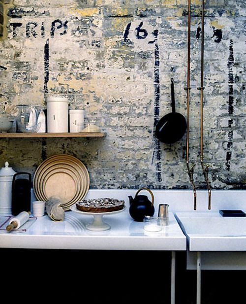Kitchen area in loft or warehouse conversion.