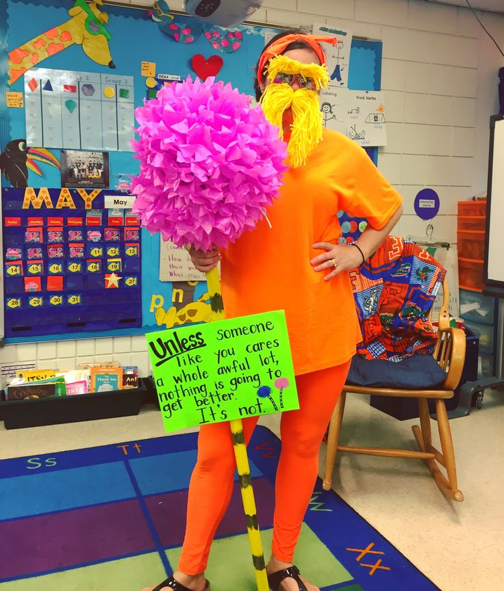 Storybook character costume. The Lorax. Dr. Seuss