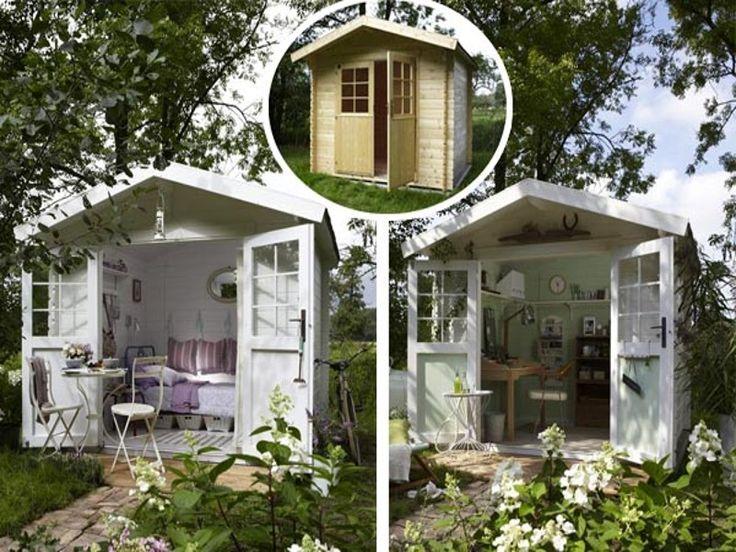 Überraschendes Umstyling  Was ein Schuppen alles kann! Wir zeigen, wie Sie ein einfaches Holzhaus wohnlich machen - einmal als provenzalisches Sommer-Refugium, einmal als Homeoffice im englischen Country-Stil. Hier geht's Step-by-Step zum Umstyling.
