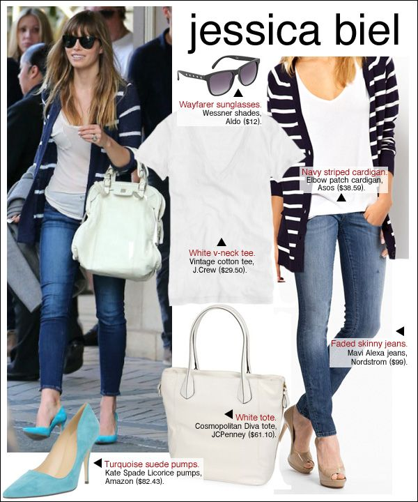 jessica biel style #teal #stripes #bangs
