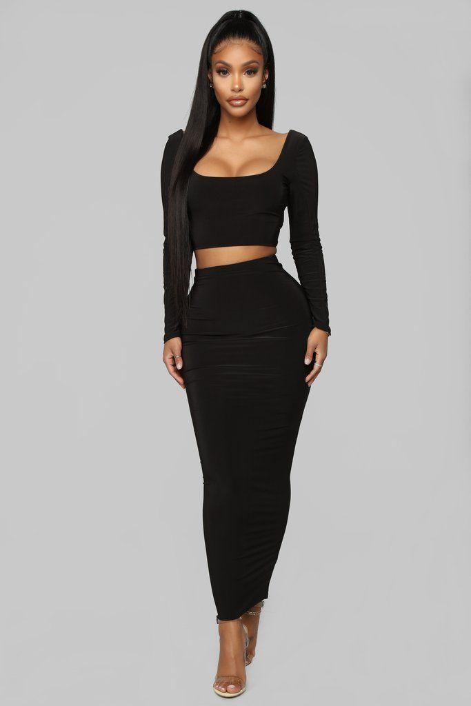 769a680a5b So Slinky Skirt Set - Black in 2019 | outfits | Skirts, Black, Fashion
