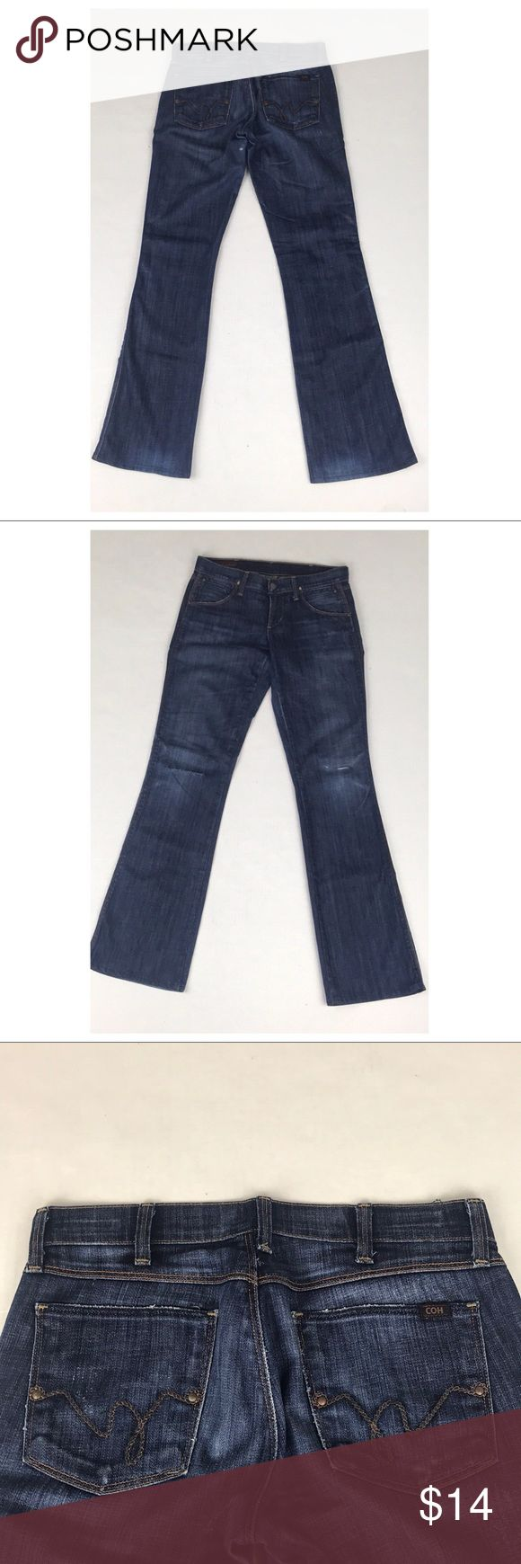 """Hudson Kelly Stretch Low Waist Bootcut Jeans 27x32 Pre owned in fair condition (as the pics show). No stains. There is a hole near the crotch that has been patched as well as one in the knee & one in the other knee that has not been patched. These have been hemmed. These cool jeans w/unique western rope pocket stitching can be worn distressed as is or would be great cutoff shorts. ▪️Measurements (while laid flat):  Total Length=39"""" Inseam= 32"""" Waist= 14.5"""" Thigh= 9.5"""" Rise= 7.5"""" Bottom Leg…"""