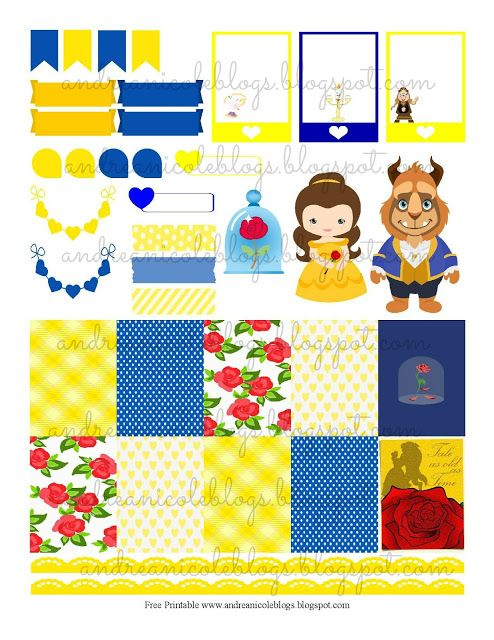 FREE Andrea Nicole: Beauty & The Beast Planner Page Decor Free Printable