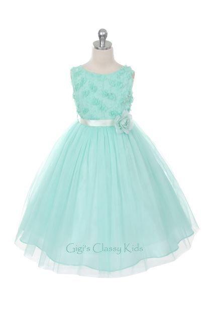 New Mint Flower Girls Dress 2-12 Easter Graduation Christmas Fancy Party MK278 #Dressy