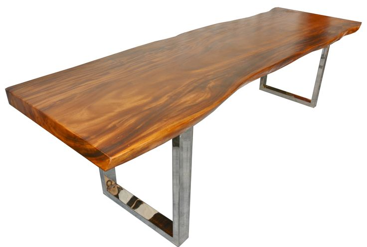 live edge suarina wood dining table with stainless steel bases texas tuscan furniture. Black Bedroom Furniture Sets. Home Design Ideas