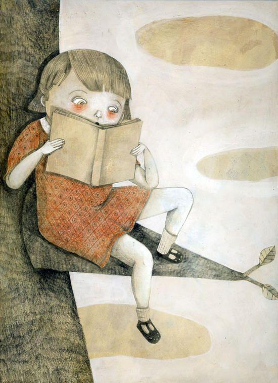bibliolectors:  What book so exciting! / Qué libro tan emocionante! (ilustración de Alessandra Vitelli)