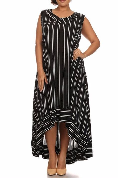 This sleeveless, black and white pinstripe dress has a bandedcrew neck and  hi-lo hem.