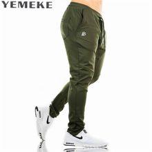 Pantalones Pantalones Deportivos Casuales YEMEKE Sólido high street Fashion Pantalones de gran tamaño de Los Hombres Chándal de marca de alta calidad de la tela escocesa pantalones(China)