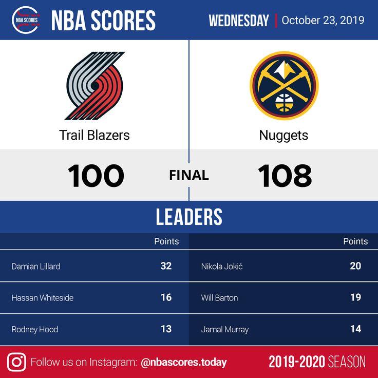 Portland Trail Blazers vs. Denver Nuggets 23. Oktober 2019 NBA Scores   – NBA Scores | 2019-2020 Season