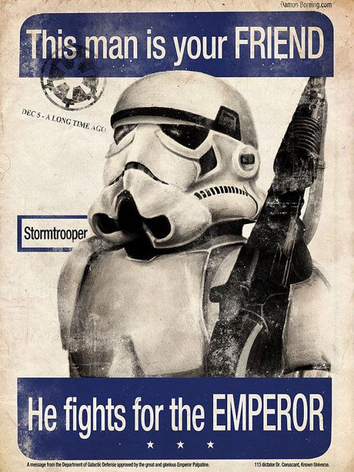 """Star Wars propaganda poster. Last year's AP World test had one just like this, but it was WWII propaganda poster of a Chinese soldier and said """" This man is your friend. He fights for freedom."""""""