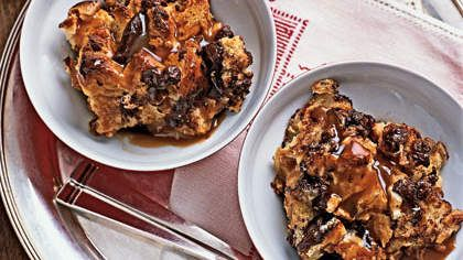 Chocolate Bread Pudding With Caramel Sauce   Indulge in a healthy bread pudding packed with semisweet chocolate chips and white chocolate and topped wtih a rich caramel sauce.