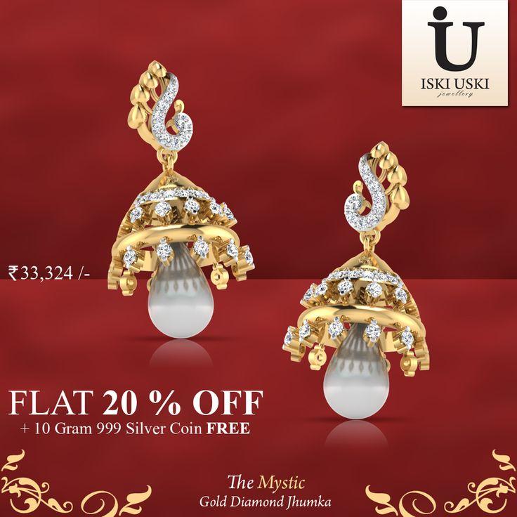 For any beautiful bride on her special day, The Mystic Diamond Jhumkas. #Jhumkas #DiamondJhumkas #IskiUski