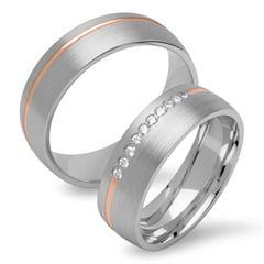 Bicolore Trauringe 925er Silber rosé gravierbar R8580s http://www.thejewellershop.com/ #trauringe #bicolor #silber #zirkonia #rosé #schmuck #jewelry #ringe #eheringe