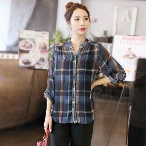 Republic of Korea reigning Women's Clothing Store [CANMART] Check chiffon shirt China / Size : FREE / Price : 35.57 USD #korea #fashion #style #fashionshop #apperal #koreashop #missy #canmart #top #shirts #blouse #dailylook #checkshirts