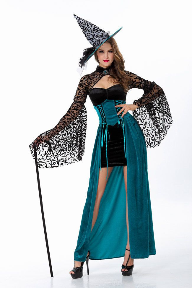 Вечером Чародейка Хеллоуин Костюм Ведьмы для Женщин Сексуальный Фэнтези Необычные Платья
